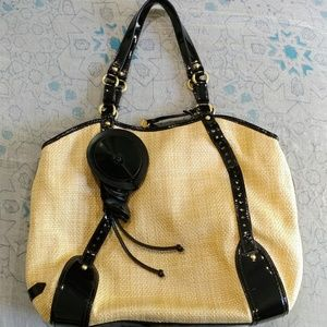 Cole Haan woven purse with patent leather trim